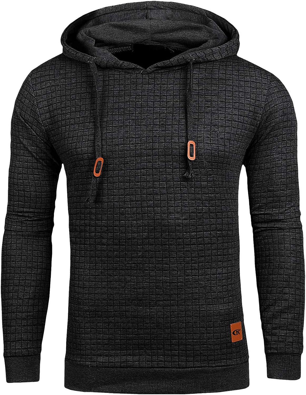 Mens Pullover Hoodie Long Sleeve Hooded Sweatshirt Casual Hoodies Square Pattern