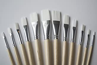 Jerry Q Art 12 PC White Synthetic Hair Flat Brush Set with Long Wood Handles for Watercolor and Acrylic JQ66051