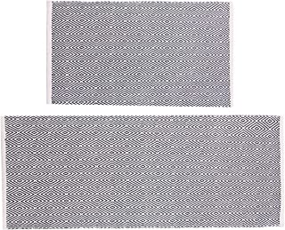 HEBE Cotton Area Rug Set 2 Piece 2'x3'+2'x4.2' Machine Washable Reversilbe Diamond Woven Cotton Rugs and Runner Set for Kitchen Floor Living Laundry Room Bedroom