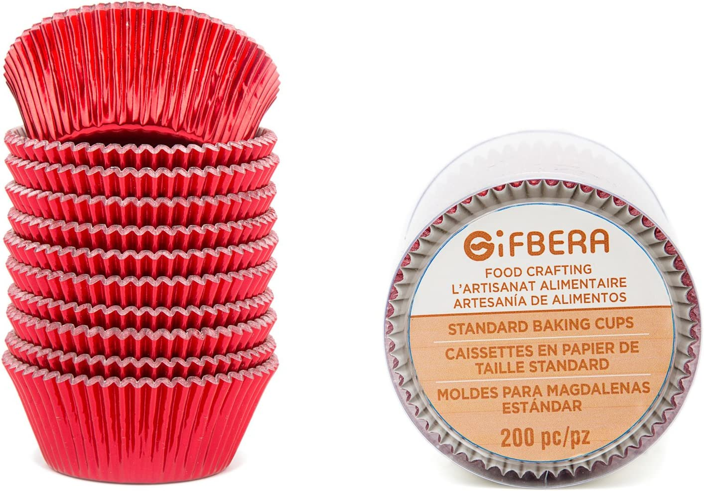 Gifbera Standard Red Foil Cupcake Liners Wrappers Baking Cups for Birthday Wedding Holiday Party, 200-Count (Red)