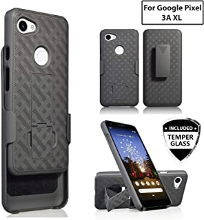 Customerfirst for Google Pixel 3A XL Rubberized Slim Armor Shell Swivel Hybrid Holster Cover +Belt Clip & Screen Glass for Google Pixel 3A XL 6.0