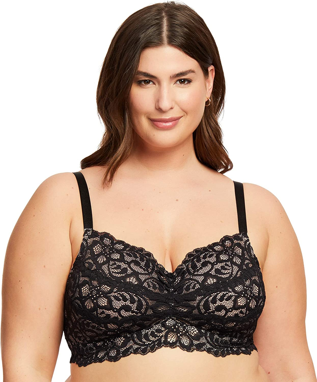 Women's Plus Size Lace Bralette Unpadded Wireless Full Coverage Soft Cup Lace Bra | D to G Cups