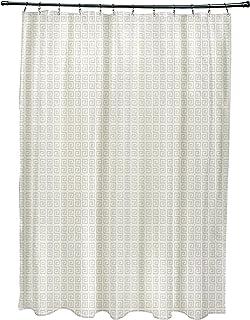Ebydesign SG-N81-Oatmeal_White Geometric Shower Curtain, Oatmeal White