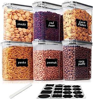 Vtopmart 2.5L boîtes de Conservation Alimentaire sans BPA pour Cuisine Pantry, Ensemble De 6 + 24 Étiquettes, pour Céréale...
