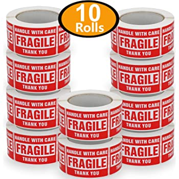 """10 Rolls/5000 Labels,Handle with Care Fragile Thank You, Red Warning Shipping Label Stickers (2"""" x 3"""")"""