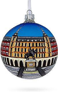 BestPysanky Plaza Mayor, Madrid, Spain Glass Ball Christmas Ornament 4 Inches