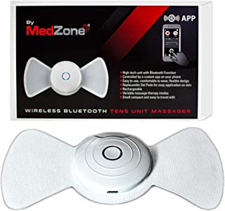 TENS Unit - Wireless Bluetooth Pulse Massager with Two Sets of Tens Unit Pads to Help with Back Pain, Aches & Sore Muscles by Medzone. Simple to Use Multi Program Settings