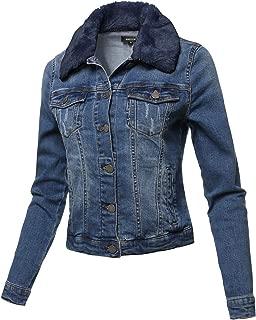 Casual Fur Collar Stretchable Retro Denim Jacket Navy Size XL