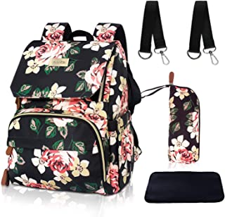 esafio Diaper Bag Backpack Floral Baby Bag Water-Resistant Mommy Backpack with Insulated Water Bottle Bag/Changing Pad, Large Capacity (Flower Pattern)