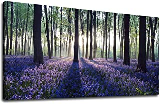 Large Forest Canvas Wall Art for Bedroom Living Room Sunshine Trees with Purple Lavender Green Woods Scenery Landscape Canvas Artwork Contemporary Nature Picture for Home Office Wall Decor 24