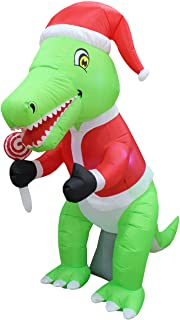 6 Foot Tall Christmas Inflatable Green Dinosaur with Christmas Hat and Lollipop LED Lights Decor Outdoor Indoor Holiday De...
