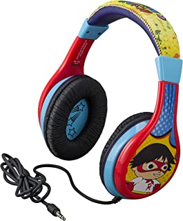 Ryans World Kids Headphones for Kids Adjustable Stereo Tangle-Free 3.5mm Jack Wired Cord Over Ear Headset for Children Parental Volume Control Kid Friendly Safe Perfect for School Home Travel