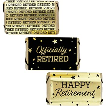 Happy Retirement Party Mini Candy Bar Wrappers Retirement Party Favors 45 Stickers