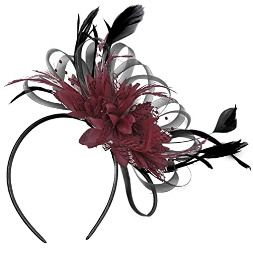 Black and Burgundy Fascinator Headband Wedding Royal Ascot Races Ladies b744510d006