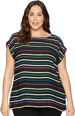 Plus Size Extended Shoulder Paradise Multi Stripe Blouse