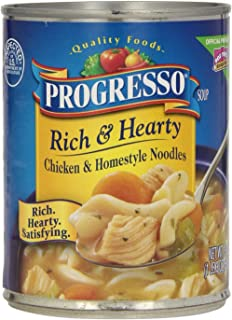 Progresso, Rich & Hearty Soup, Chicken and Homestyle Noodles, 19oz Can (Pack of 6)