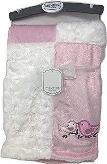 Kyle & Deena Pink & White Baby Blanket with Bird Applique