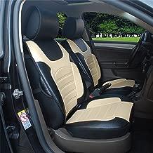 Protech Auto 180205S Black/Tan -2 Front Car Seat Cover Cushions Leather Like Vinyl Fit for Hyundai Elantra Equus Genesis ix35 Santa Fe Sonata Tucson Accent Azera