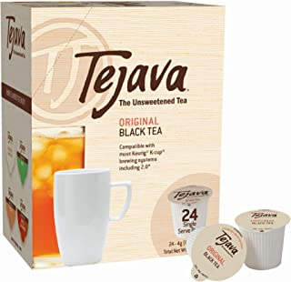 Tejava Unsweetened Original Black Tea Pods, Award-Winning Tea, 100% Recyclable Single Serve Cups | Keurig K-Cup Compatible (24 Count)
