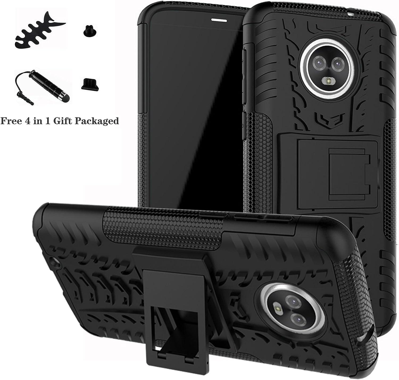LiuShan Moto G6 Funda, Heavy Duty Silicona Híbrida Rugged Armor Soporte Cáscara de Cubierta Protectora de Doble Capa Caso para Motorola Moto G6 2018 Smartphone(con 4 en 1 Regalo empaquetado),Negro