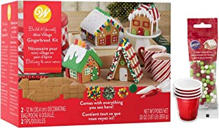 Gingerbread House Kit, Christmas Village Set. Build It Yourself Kit - Includes 4 Unassembled Sets Of House Panels, 5 Types Of Candies, Icing, 4 SEWANTA Candy Holder Cups