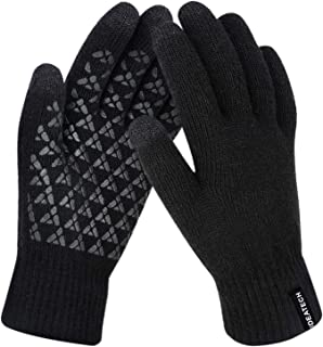 Winter Gloves for Women-Knit Touch Screen Gloves for Men-Anti Slip Silicone Gel-Thermal Soft Wool Linning-Elastic Cuff Gloves