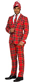Christmas Suits for Men in Different Prints – Ugly Xmas Sweater Costumes Include Jacket Pants & Tie + Free Beanie