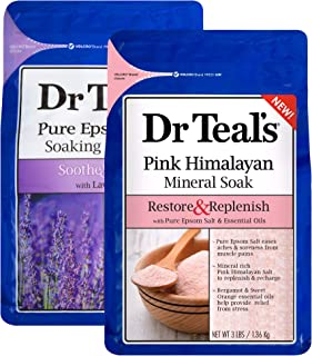 Dr Teal's Epsom Salt Bath Combo Pack (6 lbs Total), Soothe & Sleep with Lavender, and Restore & Replenish with Pink Himalayan