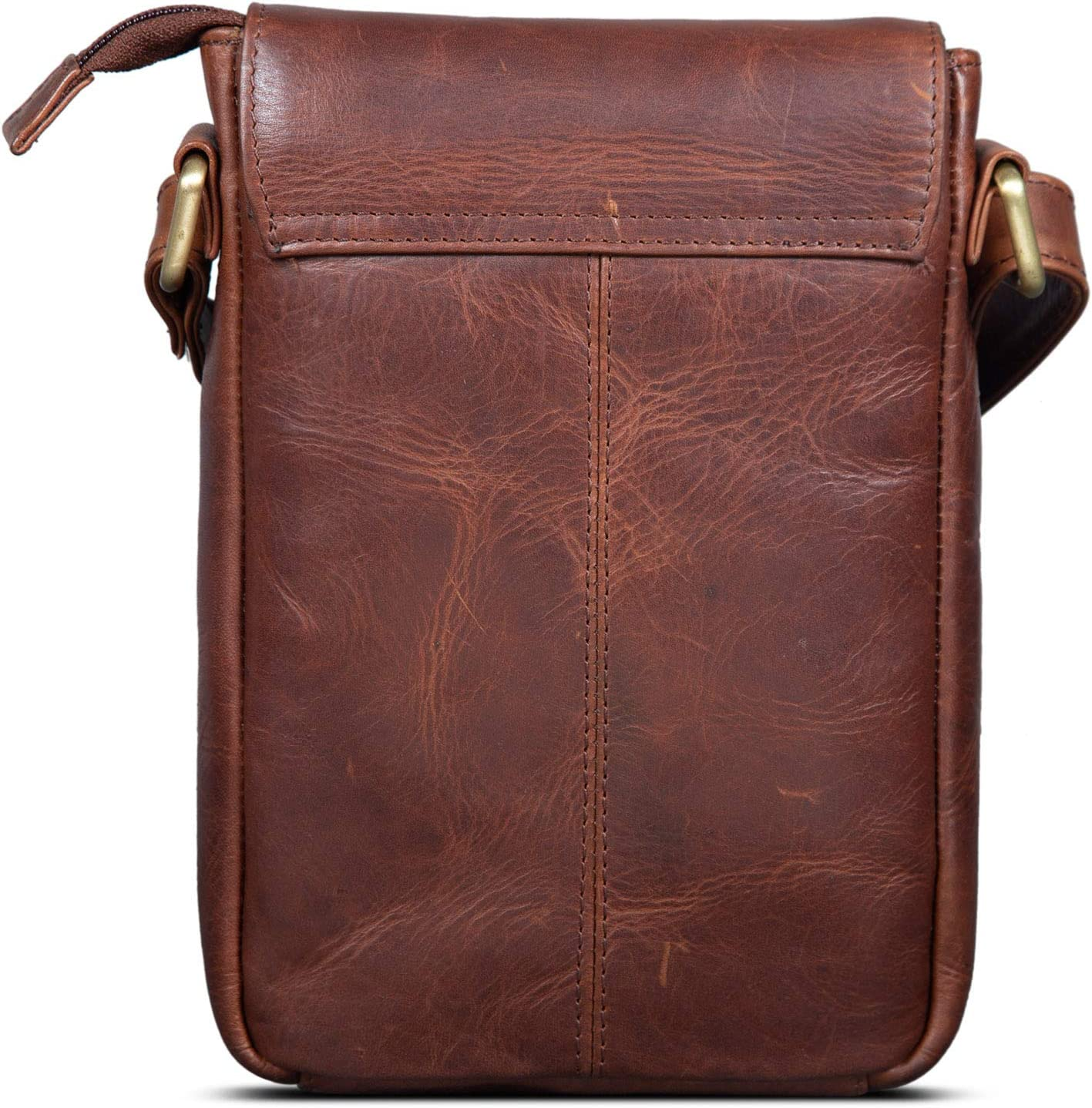 Couleur:Marron Cognac Roma ROYALZ Sacoche /à Bandouli/ère Petit Homme Cuir V/éritable Sac /à MainVintage pour Tablette iPad 9,7 Pouces Messager Besace Sac /à l/épaule