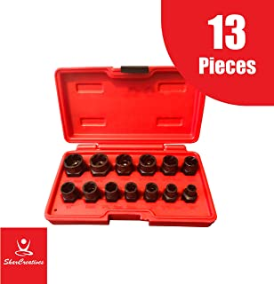 SharCreatives Impact Bolt & Nut Remover Set 13 pieces, Nut Extractor and Bolt Extractor Twist Socket Set for Removing Tricky, Broken, Stripped and Damaged Nuts and Bolts