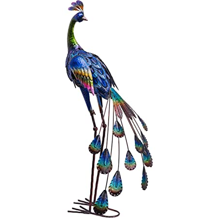 TERESA'S COLLECTIONS 35 inch Metal Peacock Decor Garden Statues and Sculptures, Garden Art Sculptures Standing Indoor Outdoor for Backyard Porch Patio Lawn Decorations