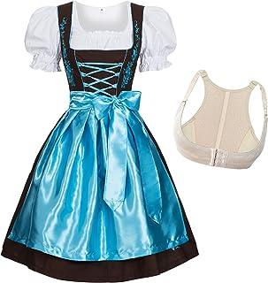 Midi Dirndl Corto da Donna Trachten vestito elegante abito Nozze TIROLESE BEIGE MARRONE
