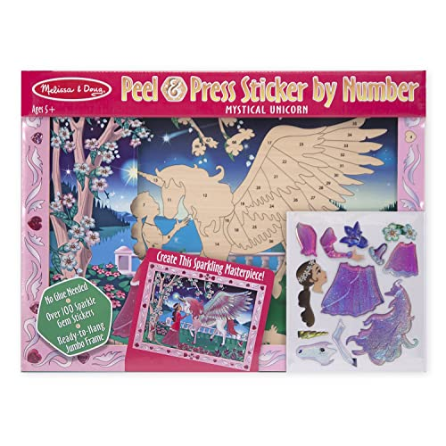 Melissa & Doug Peel and Press Sticker by Number Kit: Mystical Unicorn - 100+