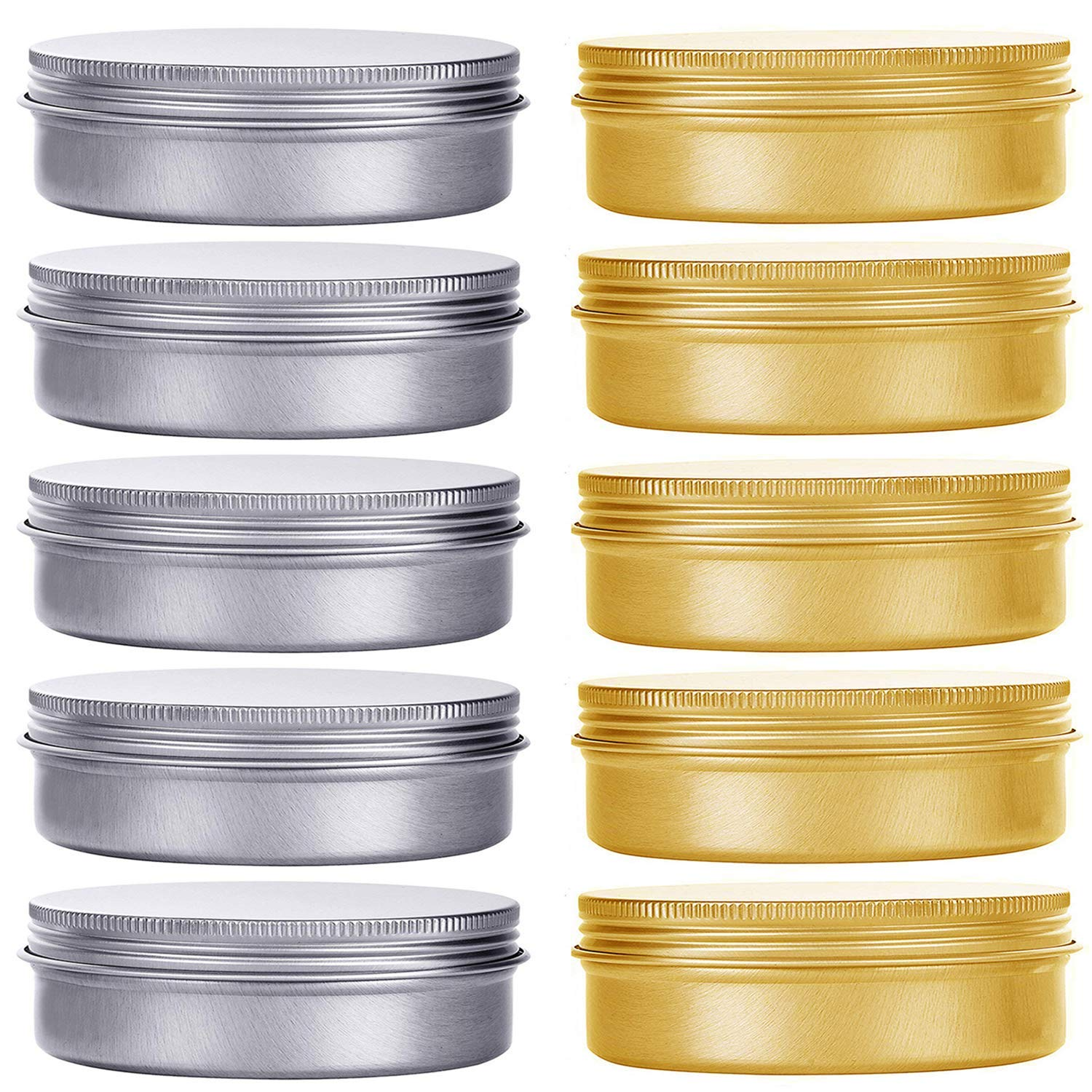 HNXAZG 2 Ounce Aluminum Tin Cans Metal Empty Tins with Screw Top Lids Round 10 Pack for Store Spices, Cosmetic, Lip Balm, Candles, 60 mL.