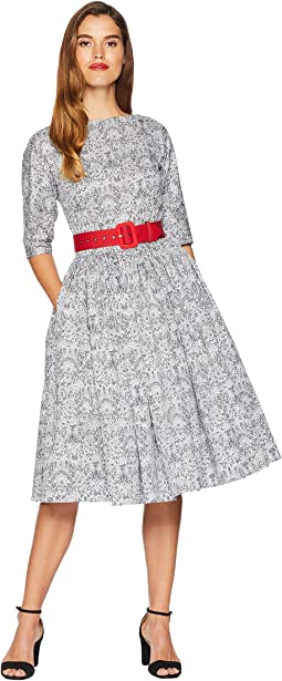 1940s Style Black & White Lace Print Sleeved Sally Swing Dress