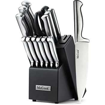 McCook MC21 15 Pieces German Stainless Steel Hollow Handle Kitchen Knife Sets in Hard Wood Block with Built-in Sharpener(Stainless Steel)