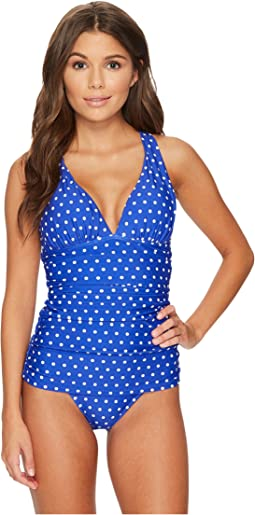 Dot Halter Skirted One-Piece