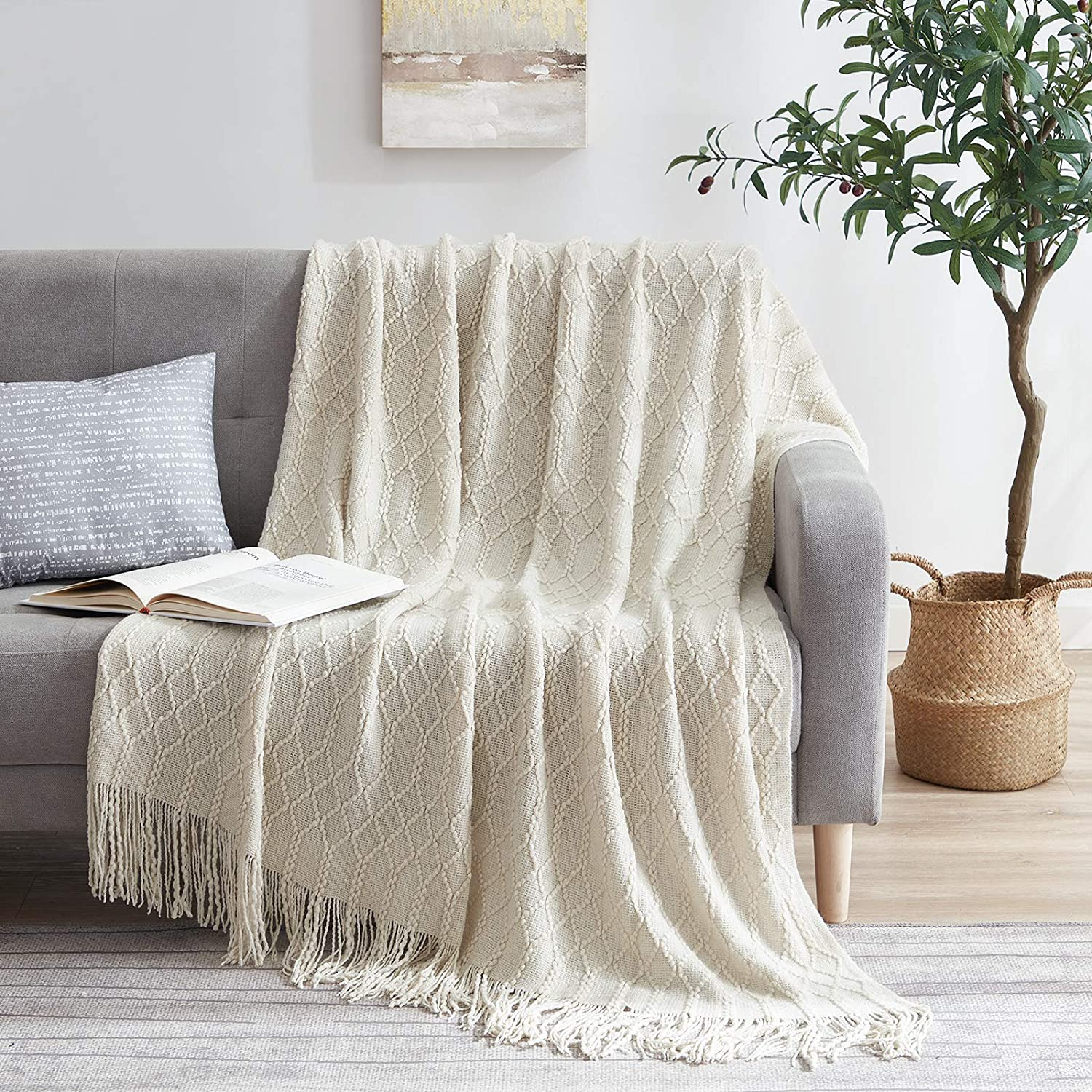 Molly Rocky 100% Acrylic Knitted Blanket Ranking TOP3 Solid Throw Textured Translated So