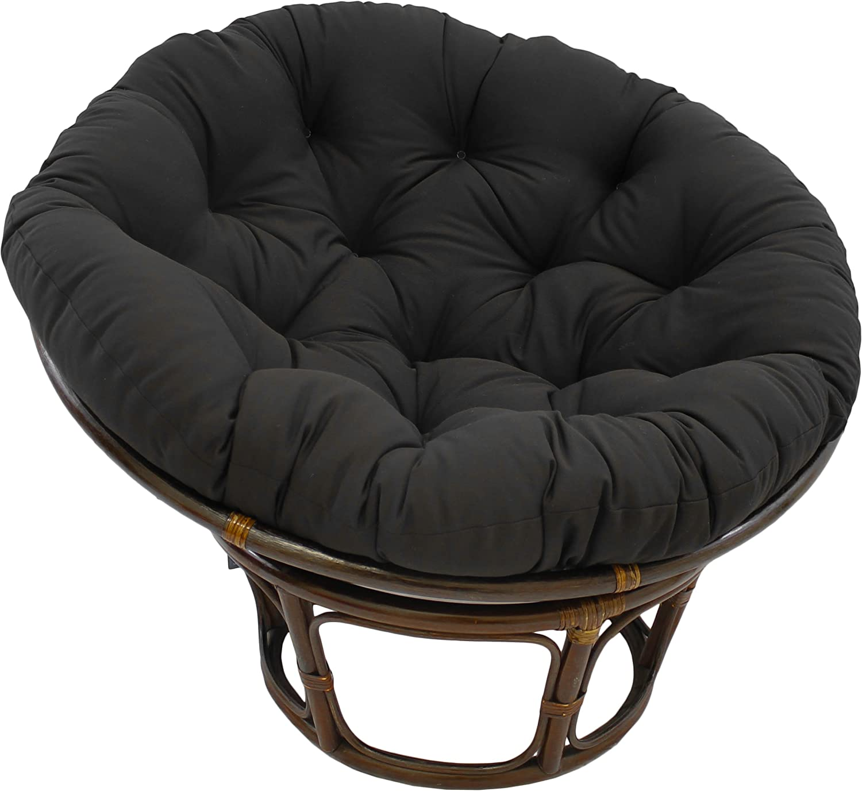 Blazing Needles Solid Twill Papasan Chair Cushion, 44  x 6  x 44 , Black