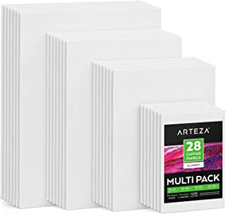 """Arteza Painting Canvas Panels Multi Pack, 5x7"""", 8x10"""", 9x12"""", 11x14"""", Set of 28, Primed White, 100% Cotton with Recycled B..."""