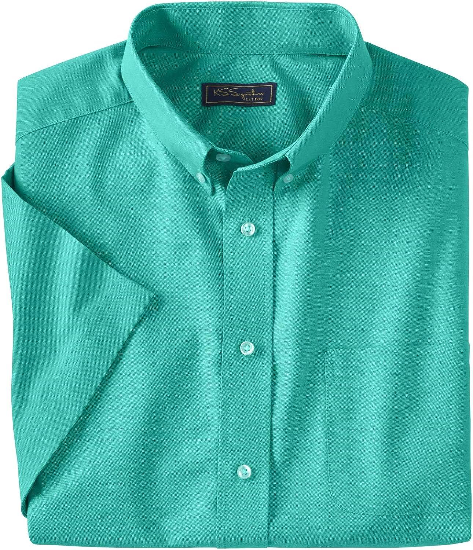 KingSize KS Signature Men's Big & Tall Wrinkle-Resistant Short-Sleeve Oxford Dress Shirt - Big - 22, Tidal Green