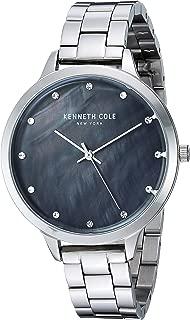 Kenneth Cole New York Reloj de vestir para mujer, de cuarzo, acero inoxidable y piel