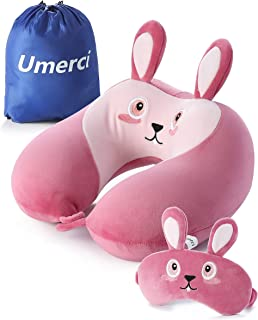 Memory Foam Animal Travel Pillow, Comfortable Neck Pillow with Cute Eye Mask Lightweight Traveling Pillow for Airplane, Car, Train, Bus and Home Use Bunny
