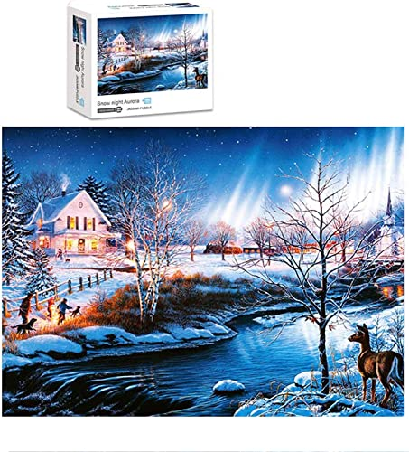 wholesale OPTIMISTIC Puzzles for lowest Adults new arrival Jigsaw Puzzles 1000 Pieces for Adults Kids - Glow in The Dark - Winter Landscape Jigsaw Puzzle Game Toys Gift, Bits and Pieces Game for Kids and Adults online
