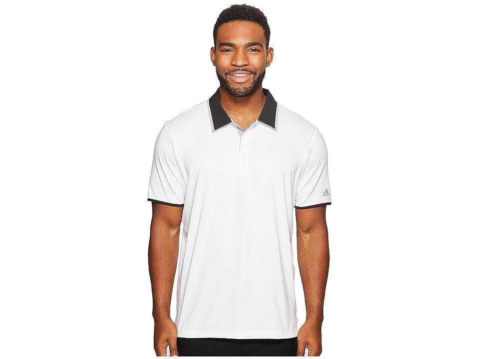 adidas Golf Climacool Performance Polo (White/Black/Mid Grey) Men