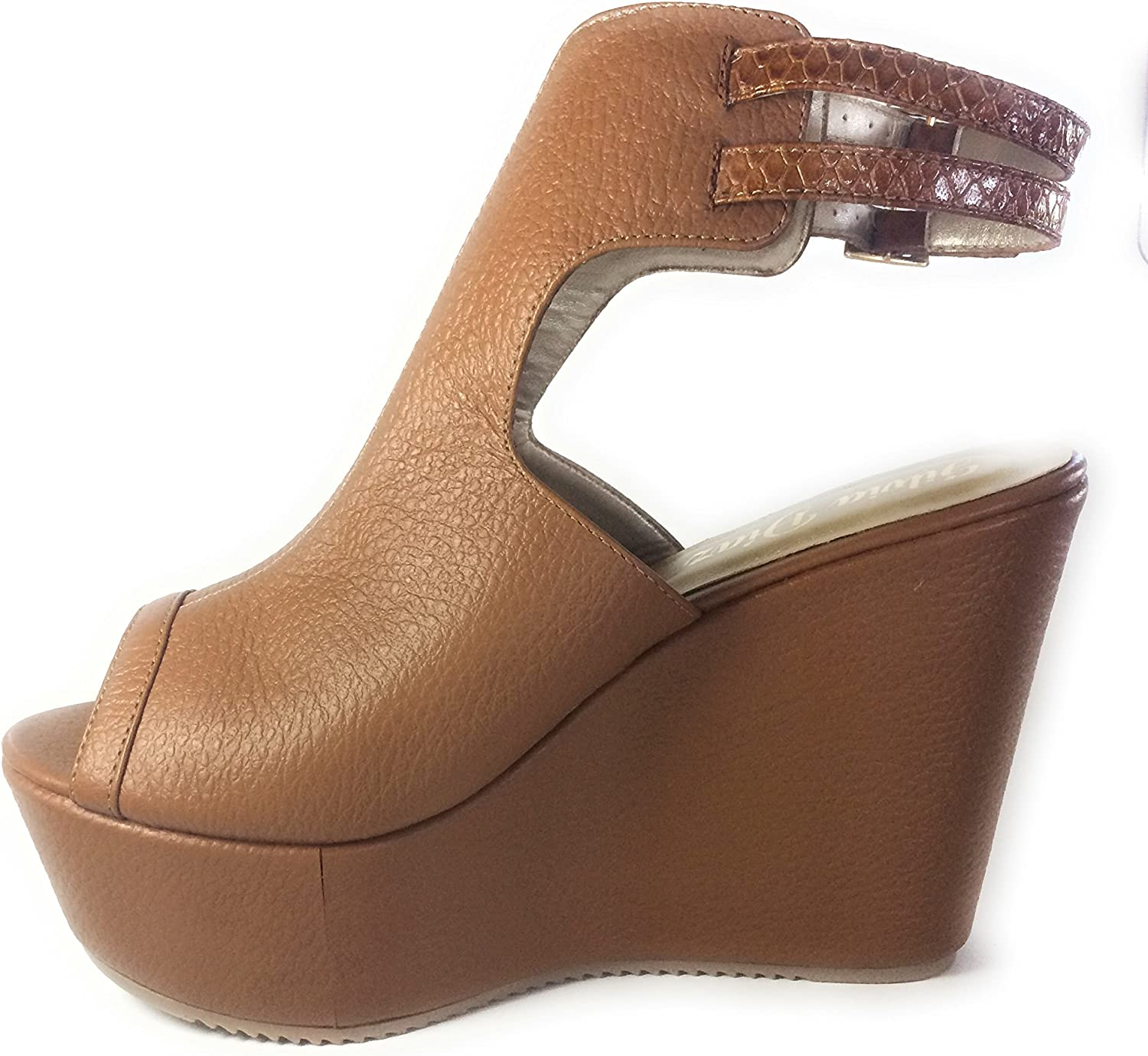 Silvia Diaz Fashion shoes Ankle T-Strap Wedges Honey