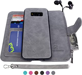 MODOS LOGICOS Galaxy S8 Case, [Detachable Wallet Folio][2 in 1][Zipper Cash Storage][Up to 14 Card Slots 1 Photo Window] Premium PU Leather Purse Clutch with Removable Inner Magnetic TPU Case - Grey