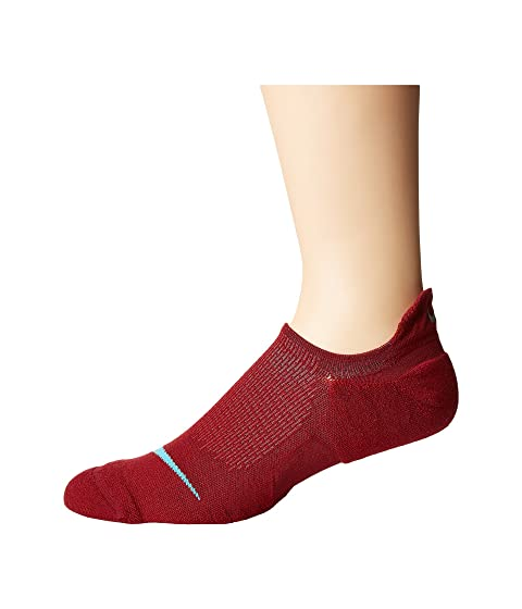 Elite Cushioned Running No Show Socks, Team Red/Gym Red/Blue Fury