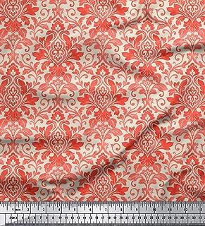 Soimoi Dekorative Blumendamast Printed 60' Zoll breit 2 Wege Stretch Velvet Meterware   Lachs