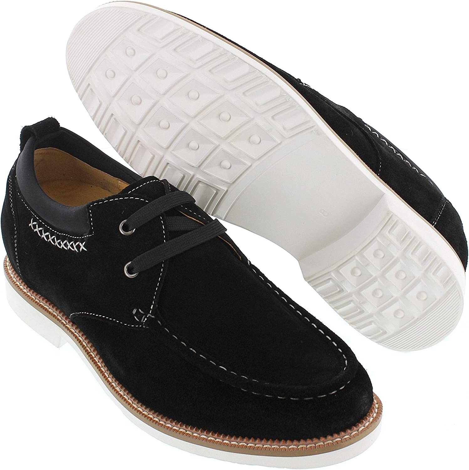 CALTO Men's Invisible Height Increasing Elevator Shoes - Black Suede Leather Lightweight Lace-up Casual Oxfords - 2.8 Inches Taller - J98503
